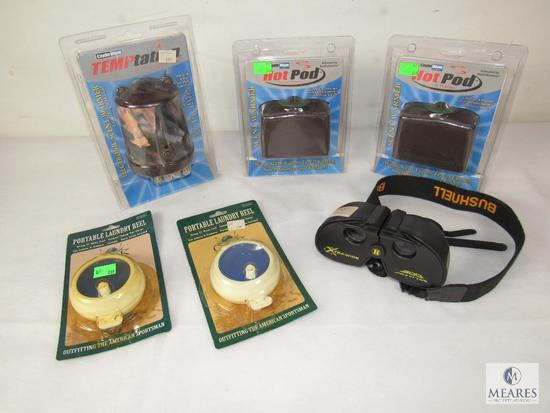 Lot Hot Pods & Electronic Scent Warmer, 2 Laundry Reels, & Bushnell 4x21 900' Binoculars