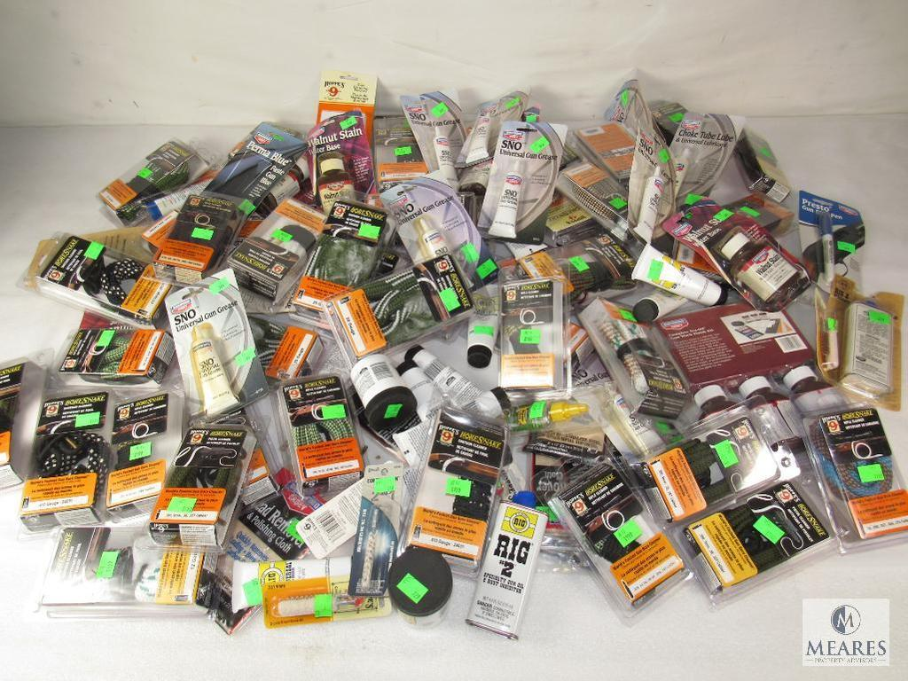HUGE lot new Gun Cleaning Supplies Bore Snakes, Oil, Grease, Brush, Swabs, Stock Wood Stains +