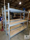 Warehouse shelving rack with 3 shelves with wood boards , Measures approximately 77