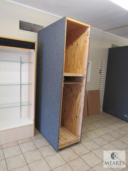 Tall rolling display cabinet - cloth covered