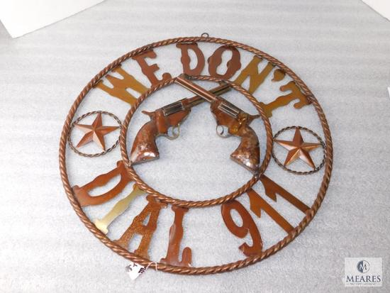 """24"""" Metal Western Style Sign """"We Don't Dial 911"""" Revolvers with Stars"""