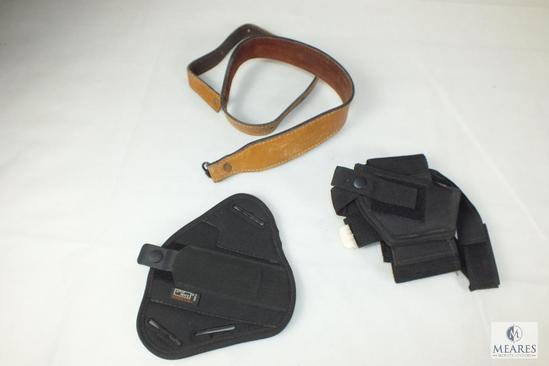 leather rifle sling , ankle holster 25 acp and pancake