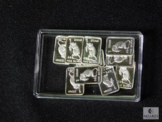9 piece of 1 gram .999 Fine Silver