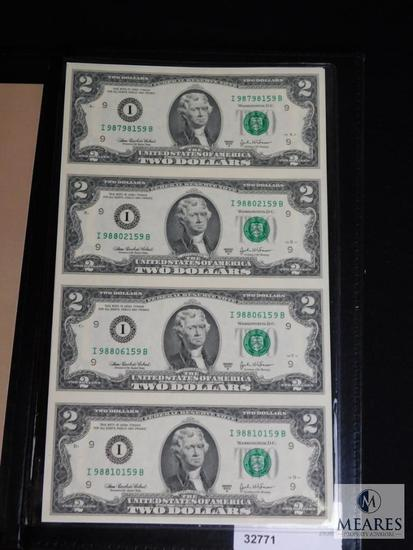 One US Government Issued Uncut Sheet of $2 Bills & Certificate of Ownership