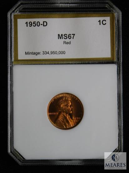 1950-D Wheat Cent PCI MS 67 RD