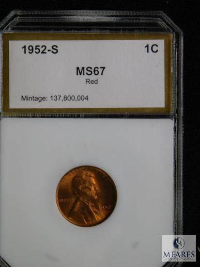 1952-S Wheat Cent PCI MS 67 RD