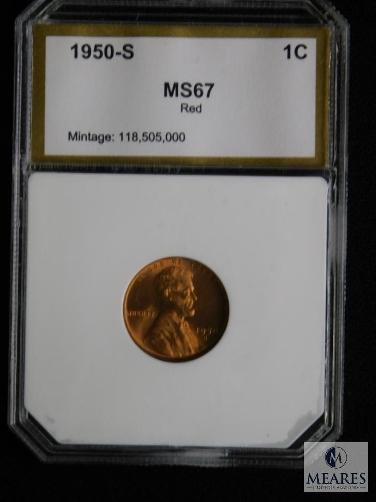 1950-S Wheat Cent PCI MS 67 RD