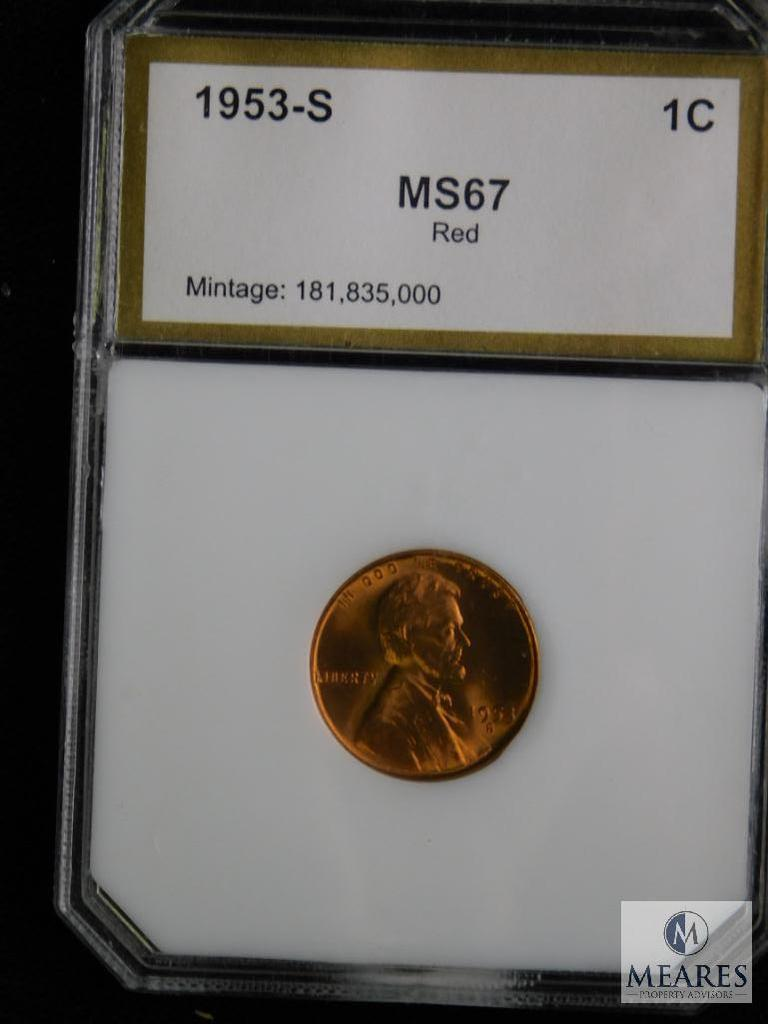 1953-S Wheat Cent PCI MS 67 RD