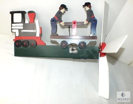Hand Made Wood Train Handcar Wind spinner