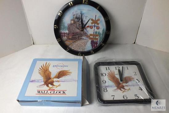 Lot of 2 wall clocks Train & Liberty Eagle