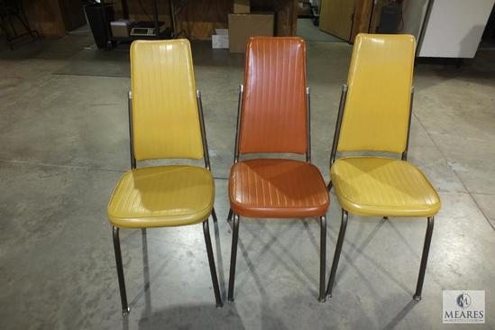 Lot 3 Vintage Dining Chairs Vinyl Cover Yellow & Orange