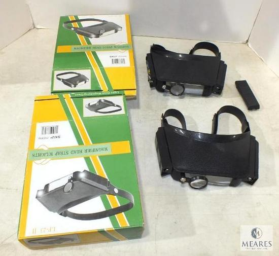Lot of 2 Magnifier head strap Glasses w/ lights