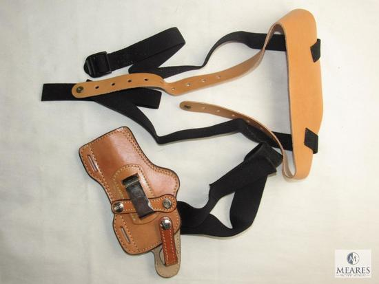 """New Hunter Leather Shoulder Holster fits 4"""" Revolvers & Mid Size Semi Autos"""