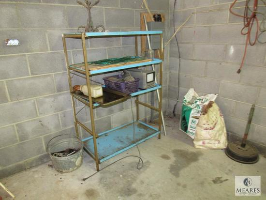 Metal Shelf Lot with Contents
