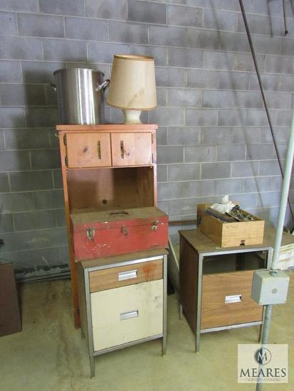 Lot Wood Cabinet, Toolbox with Fasteners, Stock Pot, Lamp & Tables