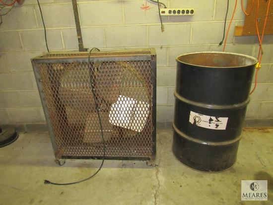 "36"" Box Shop Fan and Metal Drum"