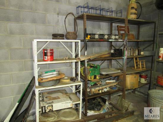 Lot Metal Shelves with contents