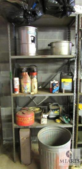 Metal shelf with contents Gas can, Trash can, Coffee Thermos, +