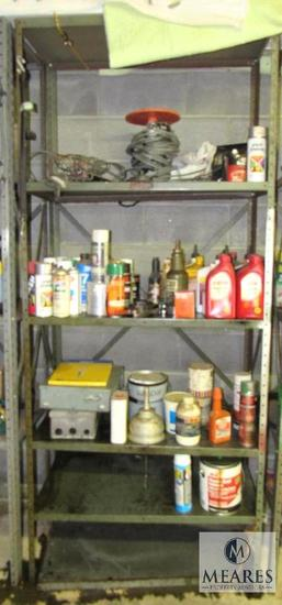 Metal shelf with contents Paints, Oils, Electrical hardware