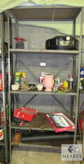 Metal shelf with contents Oil pan, License plates, Oil, +