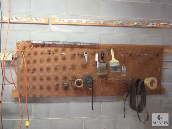 Shop wall lot Drop Cords, Paint Brushes, Clamps, plant holder