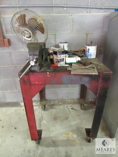 Metal Fab Table with Bench Vise & Contents