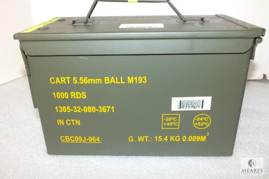 1000 Rounds 5.56 x45mm BALL M193 in Original Metal Ammo Can