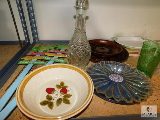 Shelf lot stemmed glassware glass decanter serving pieces and decorative garden signs
