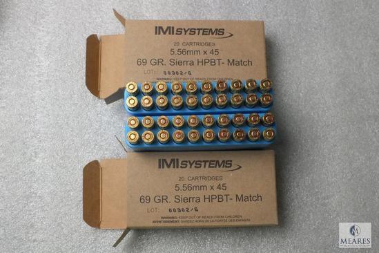 40 Rounds IMI Systems 5.56mm x 45 Ammo 69 Grain Ammunition HPBT - Match