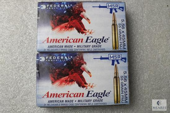 40 Rounds American Eagle 5.56 x45mm Ammo 55 Grain FMJ Ammunition