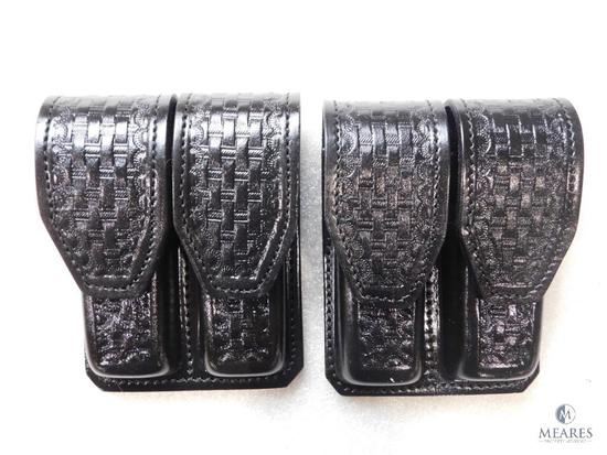 2 New Hunter leather double magazine pouches for Glocks, Beretta and similar pistols