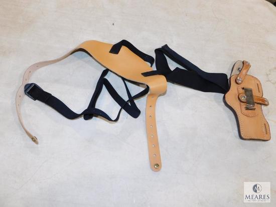 """New Hunter leather shoulder holster fits 4"""" revolvers S&W K&L frame, Colt python and similar"""