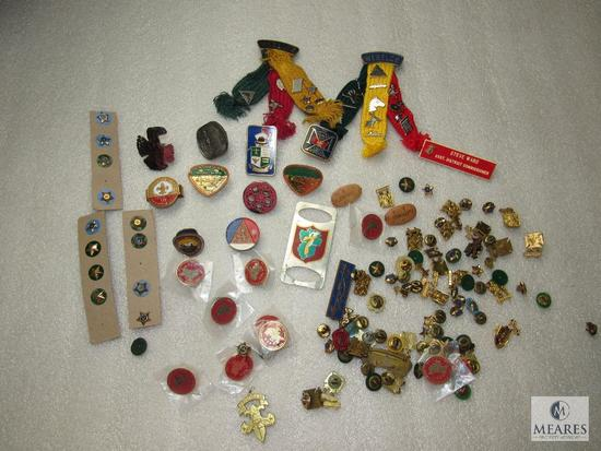 12 Boy Scout Metal Neckerchief Slides & Lot of Vintage Scout Pins 1930's - 90's