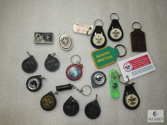 Lot 16 BSA Keychains Various Scout Key Rings & 2 Boy Scout Money Clips