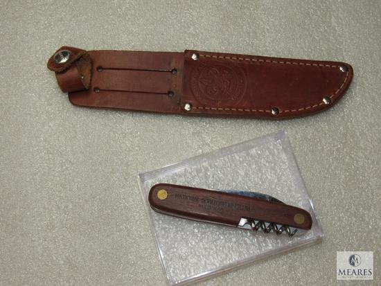 RARE Marbles Leather Knife Sheath w/ BSA Logo & BSA Museum Multi-function Pocket Knife