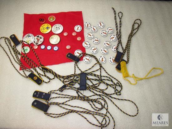 Lot Vintage Cub Scout Den Chief Braids, BSA Pin Back Buttons, & Tiger Mania Pins