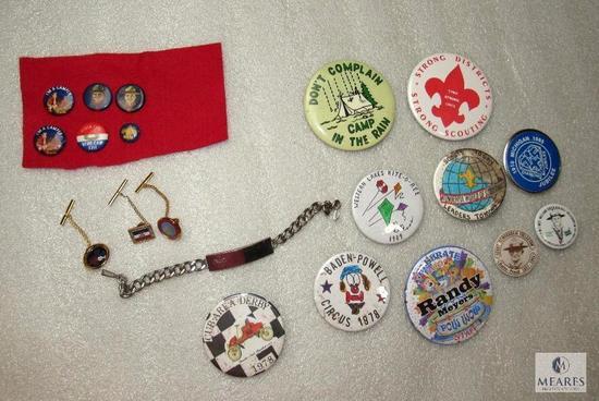 Lot Vintage BSA Name Bracelet, Pin Back Buttons, & Tie Tac Pins St.Louis & Michigan
