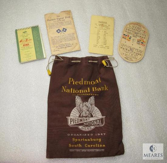 Vintage Piedmont National Bank Bag & Pocket Signal Disk for US Morse Code Military Issue