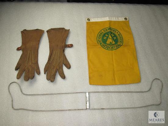 Lot VIntage Leather Gauntlet Gloves, Sock Stretcher / Drier & NCHA Flag