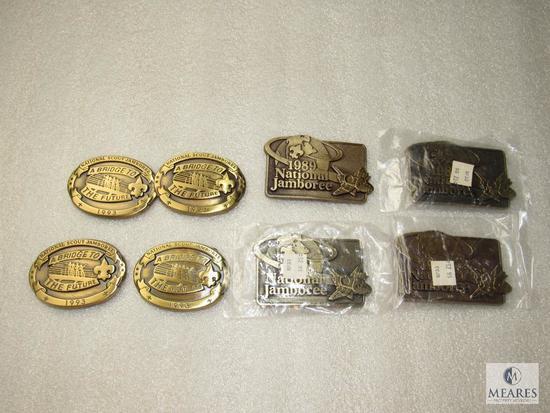 Lot 8 Heavy Solid Brass BSA Belt Buckles 1989 & 1993 National Jamboree