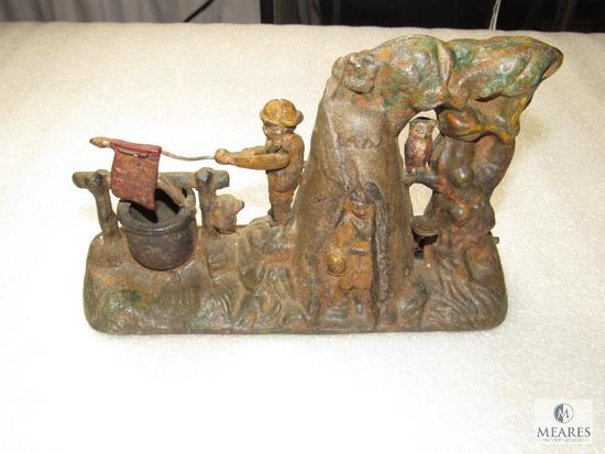 Vintage Boy Scout Cast Iron Mechanical Bank Reproduction from the 1960's