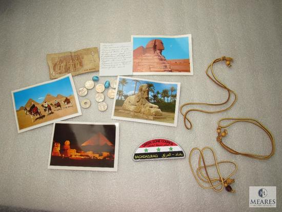 Lot Boy Scouts Baghdad Iraq Patch, Wood Badge Beads & Egypt Postcards & Money