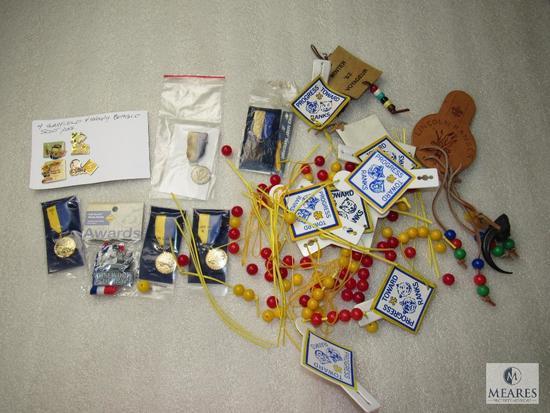 Lot Cub Scout Progress Beads, Garfield & Snoopy Pins & 6 Ribbon Medals