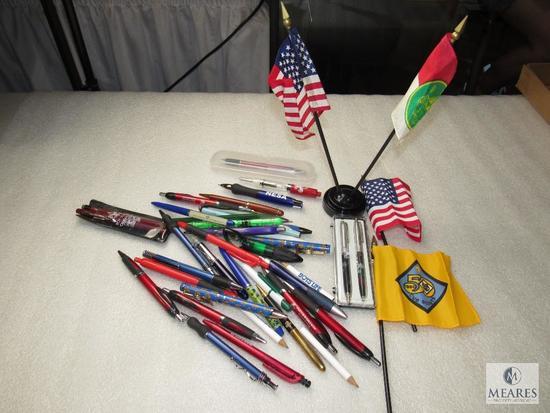 Lot Various Boy Scout Pens & Pencils and Vintage Scout & USA Desk Flags