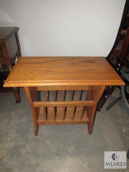Oak Magazine Rack Side Table