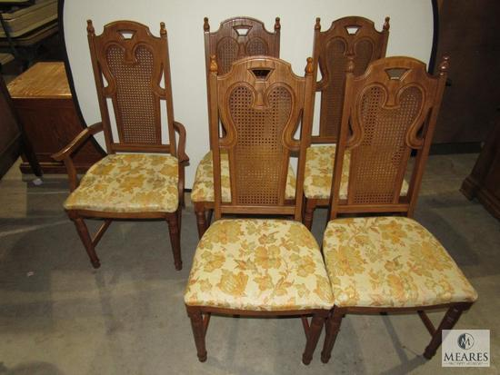 Lot of 5 Wooden Cushioned Chairs