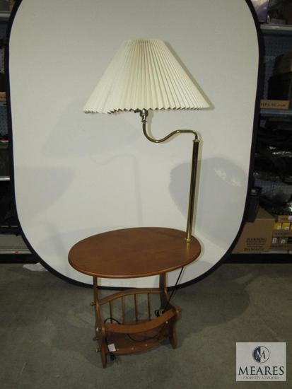 Wooden Magazine Rack Side Table with Lamp