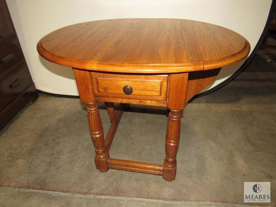 Wooden Side Table with Extendable Leaves