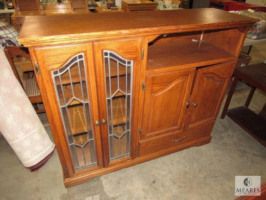 Entertainment Center with Glass Display Cabinet