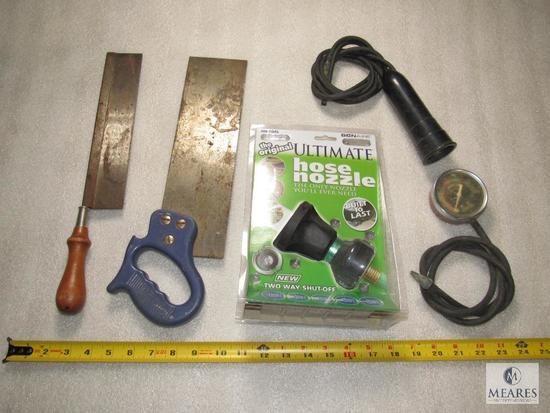 Lot Mitre Bow Saws, Fuel Pump Gauge, New water Hose Nozzle, +